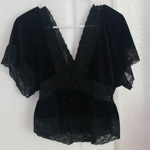 Forever 21 Black Velvet + Lace Deep V Neck Top